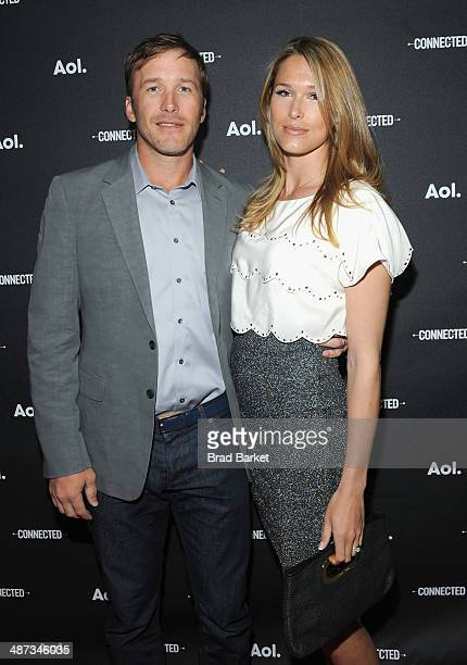 Skier Bode Miller with wife Morgan Beck attend the 2014 AOL NewFronts at Duggal Greenhouse on April 29, 2014 in New York, New York.