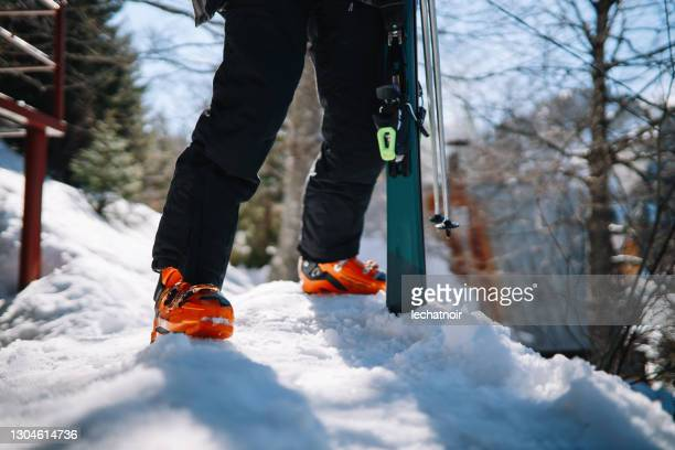 skier close up - silver boot stock pictures, royalty-free photos & images