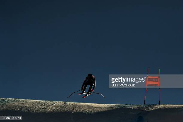 Skier competes during the women's downhill of the FIS Alpine Ski World Cup in Val d'Isere, French Alps, on December 18, 2020.