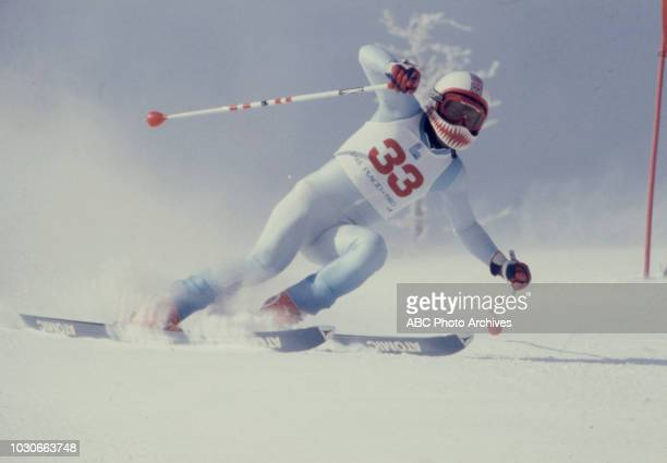 Skier competing in the Men's downhill skiing event at the 1980 Winter Olympics / XIII Olympic Winter Games Olympic Center