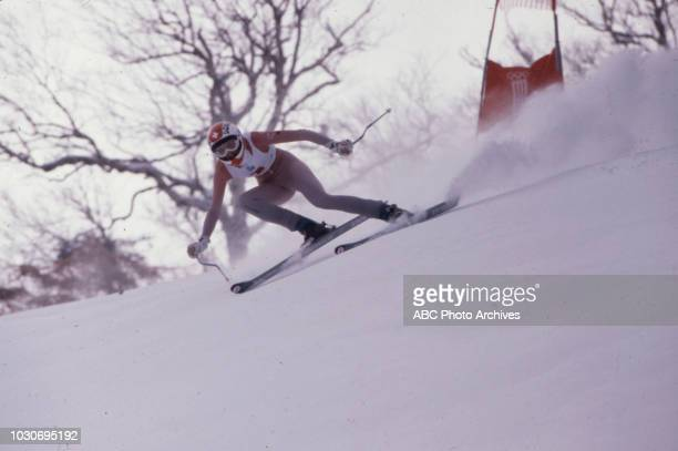 Skier competing in the Women's downhill skiing event at the 1980 Winter Olympics / XIII Olympic Winter Games Olympic Center