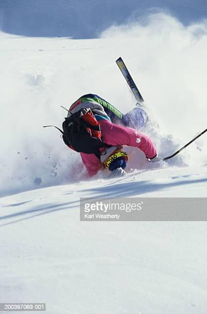 skier crashing - crash stock photos and pictures