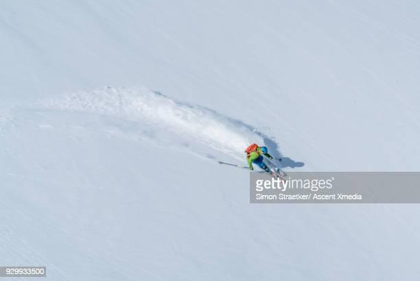 skier descends powder snow slope, mountains - kaukasus geografische lage stock-fotos und bilder