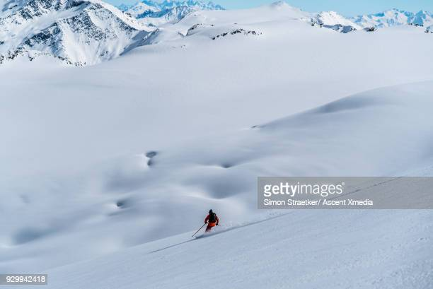 skier descends powder snow slope, mountains - caucasus stock pictures, royalty-free photos & images