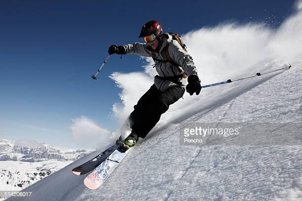 Skier doing a big turn