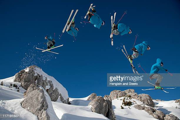 Skier doing dangerous free ride jump