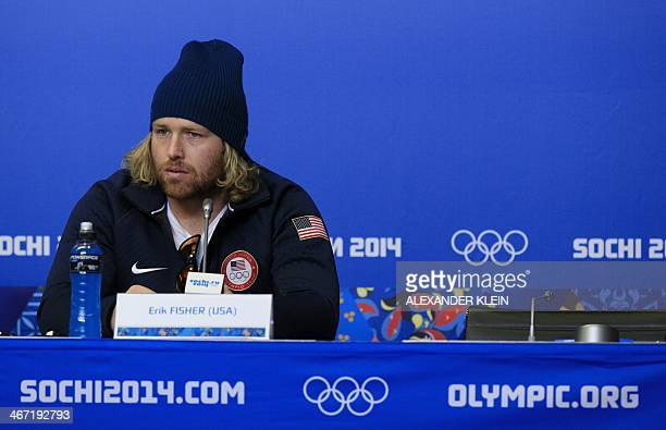 US skier Erik Fisher looks on during a press conference of the US Alpine Ski team at the Gorki media center in Rosa Khutor near Sochi on February 6...