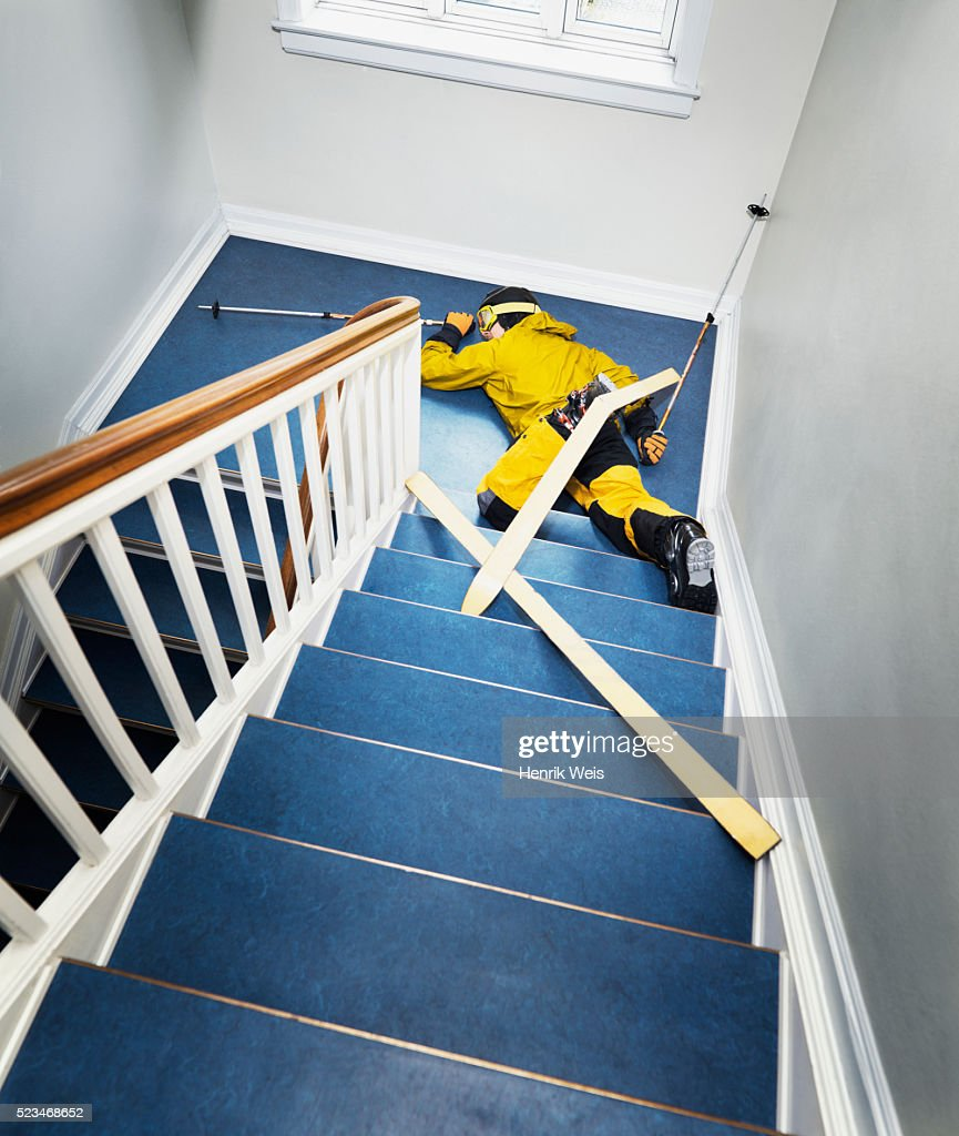 Skier Falling Down Stairs Stock Photo