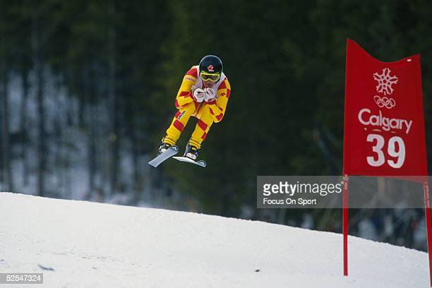 A skier flies through the air during the Winter Olympics circa Febuary 1988 in Calgary Canada