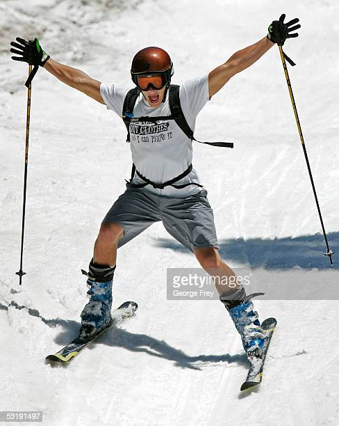 A skier gestures as he skis in the area of Little Cloud Lift July 3 2005 in Snowbird Utah This is only the second time in snowbird history that...