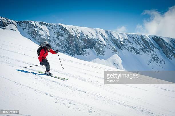 skier going downhill - grenoble stockfoto's en -beelden