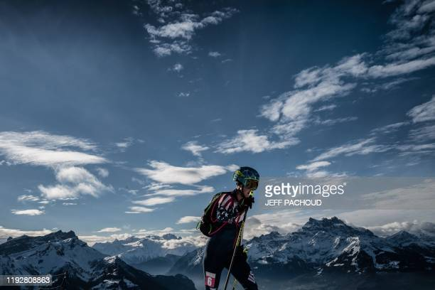 US skier Grace Staberg competes during the individual women's ski mountaineering 2020 Lausanne Winter Youth Olympic Games race on January 10 2020 in...