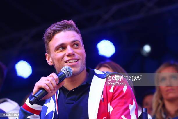 skier Gus Kenworthy speaks during the 100 Days Out 2018 PyeongChang Winter Olympics Celebration Team USA in Times Square on November 1 2017 in New...