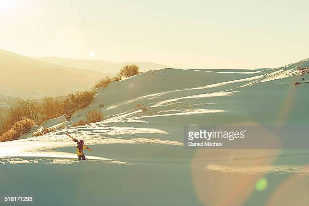 skier hiking during sunset in the backcountry. - beaver creek colorado stock pictures, royalty-free photos & images