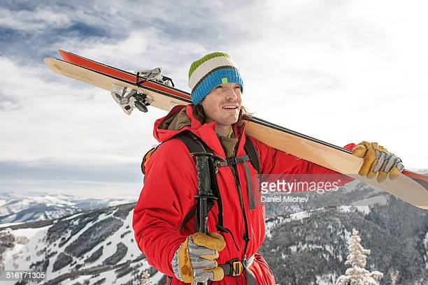 Skier hiking in the mountain.