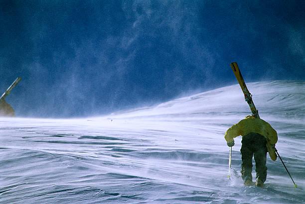Skier Hiking Uphill