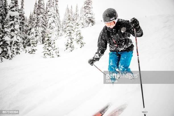 新雪パウダーでアクションのスキーヤー