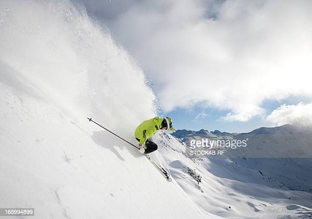 Skier in alpine landscape
