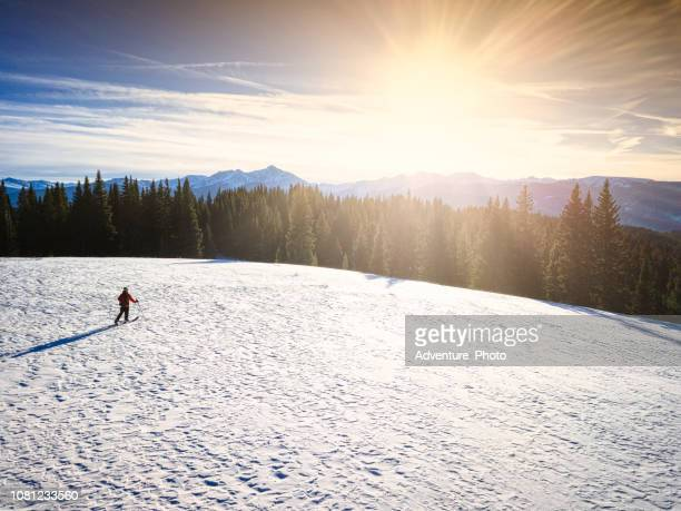 Skier in Backcountry Skiing Scenic Mountain Landscape