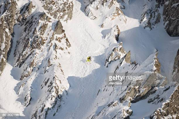 Skier in beautiful alpine environment