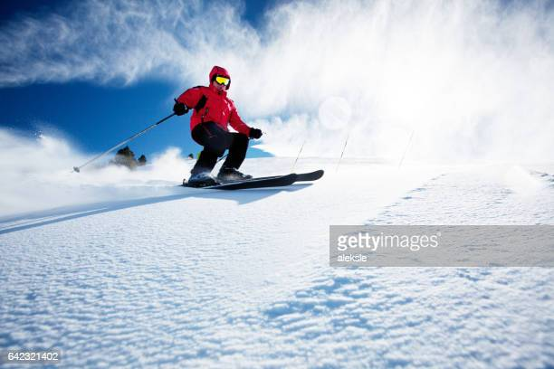skier in mountains - andorra stock pictures, royalty-free photos & images