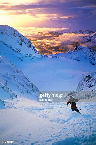 Skier in Snowy Mountains
