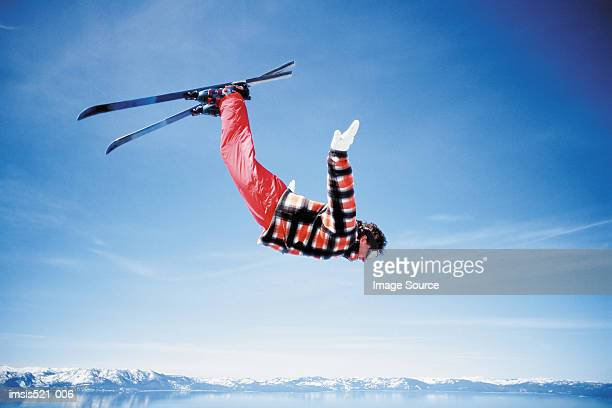 skier in the air - freestyle skiing stock pictures, royalty-free photos & images