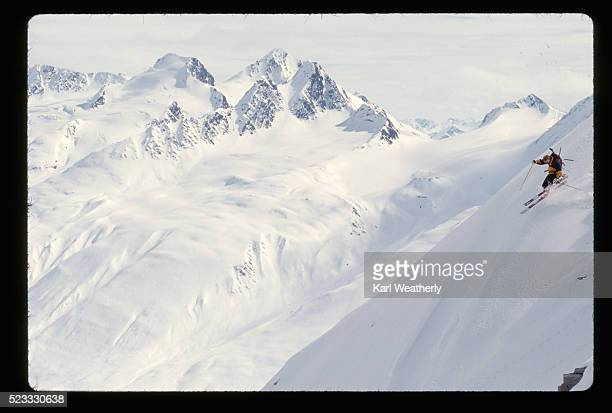 skier in the back country of alaska - chugach mountains stock pictures, royalty-free photos & images