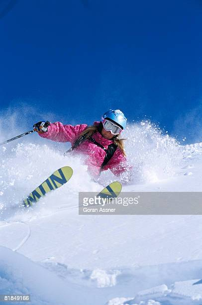 a skier in the snow. - val thorens stock pictures, royalty-free photos & images
