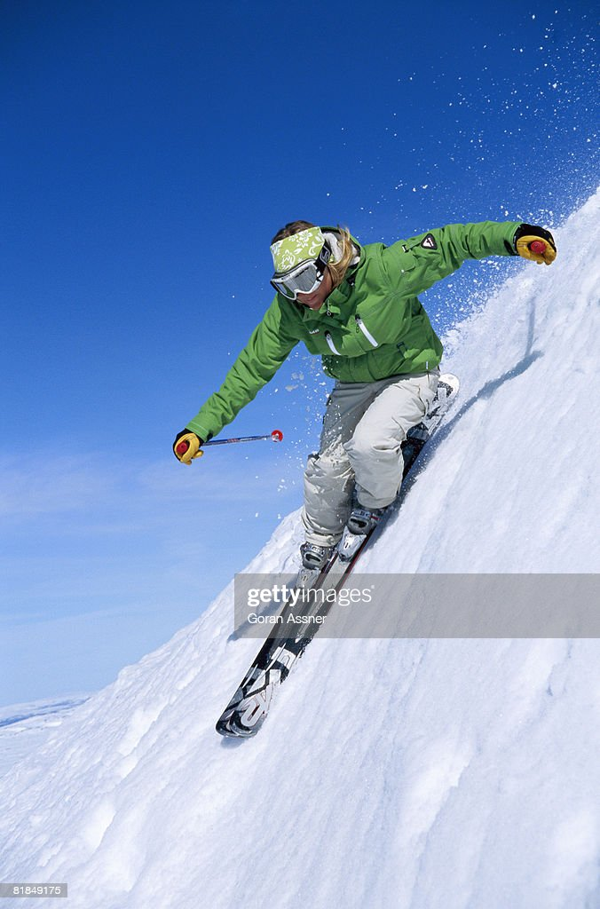 A skier in the snow. : Stock Photo