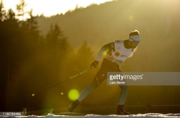 A skier is seen during a crosscountry training session ahead of the FIS Nordic World Ski Championships on February 19 2019 in Seefeld Austria