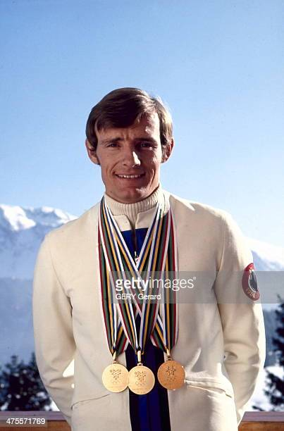 Skier JeanClaude Killy poses with his 3 gold medals won at the Olympic games of Grenoble 1968 on February 1968 in Grenoble France