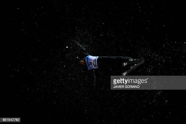 US skier Jonathon Lillis competes during the men's aerials final in the FIS Snowboard and Freestyle Ski World Championships 2017 in Sierra Nevada on...
