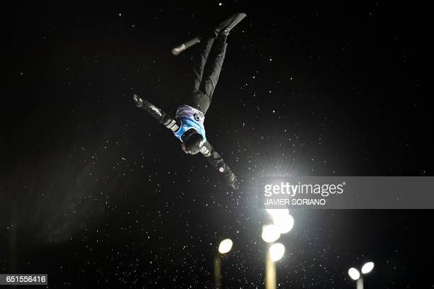 US skier Jonathon Lillis competes to win the men's aerials final in the FIS Snowboard and Freestyle Ski World Championships 2017 in Sierra Nevada on...