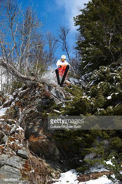 Skier jumping off rocks, Are, Sweden