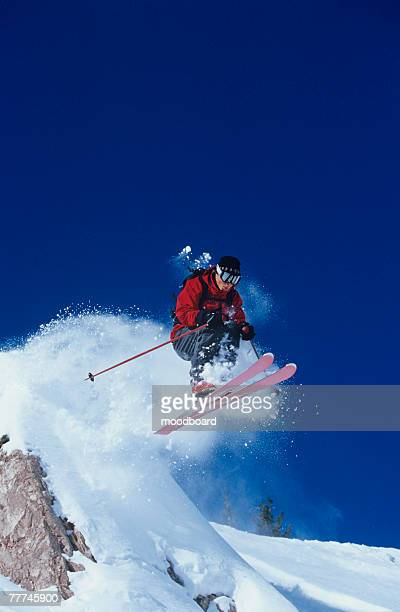 skier jumping - ski jumping stock pictures, royalty-free photos & images