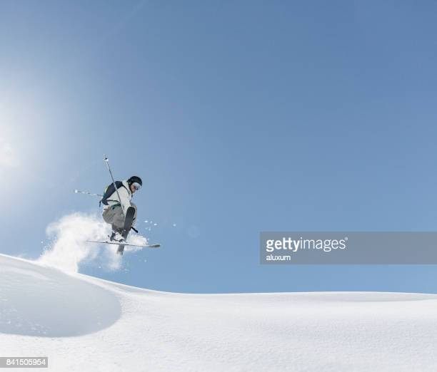 skier jumping - freestyle skiing stock pictures, royalty-free photos & images