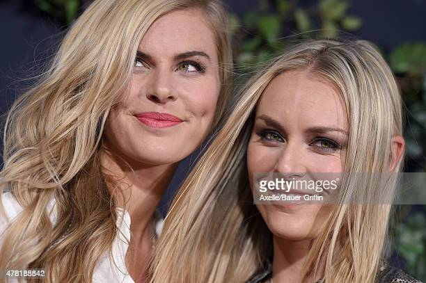 S skier Lindsey Vonn and sister Karin Kildow arrive at the World Premiere of 'Jurassic World' at Dolby Theatre on June 9 2015 in Hollywood California