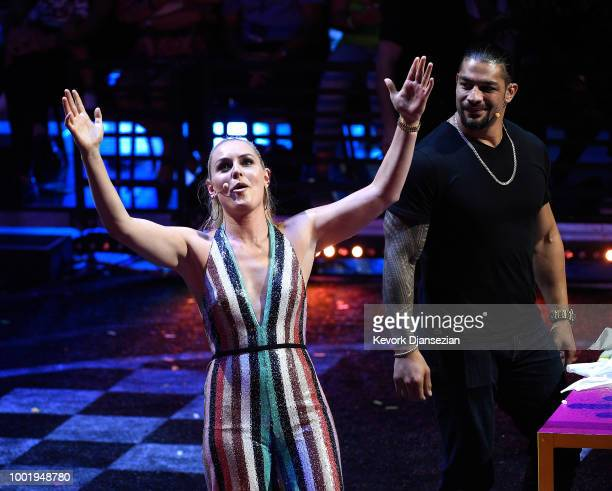 Skier Lindsey Vonn and WWE wrestler Roman Reigns speak onstage during the Nickelodeon Kids' Choice Sports 2018 at Barker Hangar on July 19 2018 in...