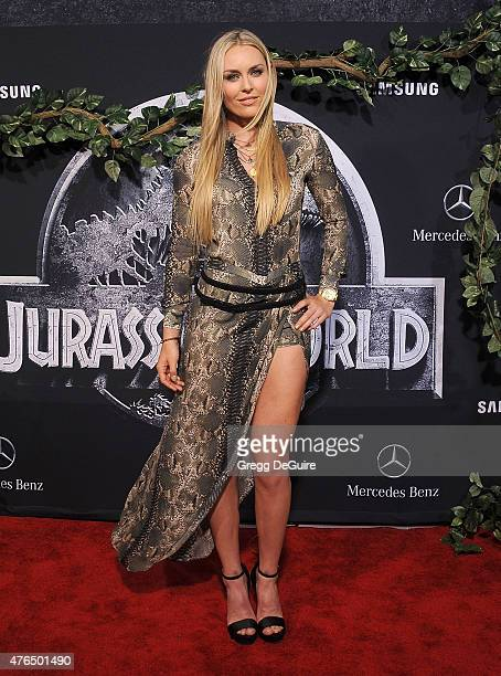 S skier Lindsey Vonn arrives at the World Premiere of Jurassic World at Dolby Theatre on June 9 2015 in Hollywood California