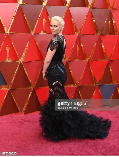 US skier Lindsey Vonn arrives for the 90th Annual Academy Awards on March 4 in Hollywood California / AFP PHOTO / ANGELA WEISS