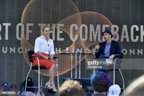 Skier Lindsey Vonn is interviewed by Forbes Magazine Editor Randall Lane at the 2017 Forbes Under 30 Summit on October 2 2017 in Boston Massachusetts