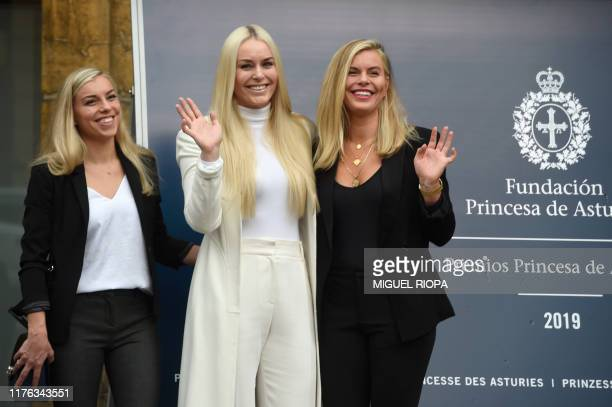 US skier Lindsey Vonn poses with her sisters Laura and Karin Kildow at the Reconquista Hotel in Oviedo on October 17 2019 on the eve of the Princess...
