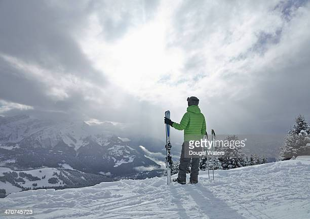 A skier look out across The Alps.