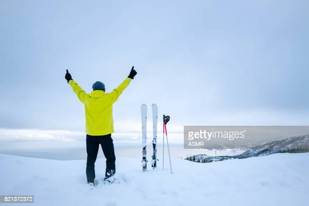 a skier look out across the view - ski wear stock pictures, royalty-free photos & images