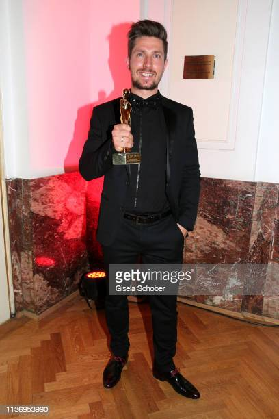 Skier Marcel Hirscher poses with his award for the best TV moment during the ROMY award at Hofburg Vienna on April 13, 2019 in Vienna, Austria.
