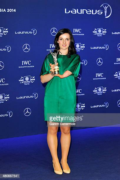 Skier Marie Bochet winner of the Laureus World Sportsperson of the Year with a Disability award poses with their trophy at the winners photocall...