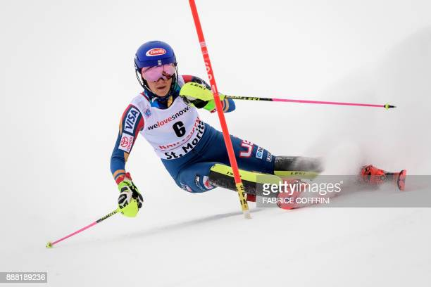 US skier Mikaela Shiffrin competes in the slalom race of the FIS Alpine Skiing World Cup Ladies' Alpine combined on December 8 2017 in St Moritz /...