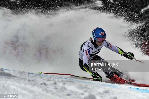 TOPSHOT US skier Mikaela Shiffrin competes to win the FIS Alpine World Cup Women Giant Slalom on December 21 2018 in Courchevel French Alps
