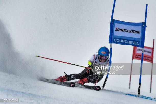 US skier Mikaela Shiffrin competes to win the FIS Alpine World Cup Women Giant Slalom on December 21 2018 in Courchevel French Alps